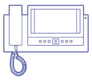 House videophone indoors. Illustration. Video door phone icon Stock Photography