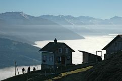 House with a view. Above the sea of clouds Stock Image