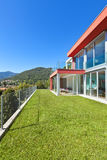 House, view from the garden. Beautiful house, modern style, view from the garden stock photo