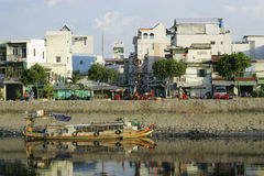 House view from river-side at Ho Chi Minh city  Royalty Free Stock Photography