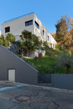 House view from the street. External of a modern house, view from the street royalty free stock photography