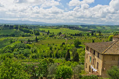 House with a view on Tuscany landscape near San Gimignano Stock Photos