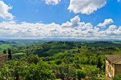 House with a view of Tuscany landscape near San Gimignano Royalty Free Stock Images