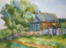 House in the village. Picture of the village house, made watercolors paints vector illustration