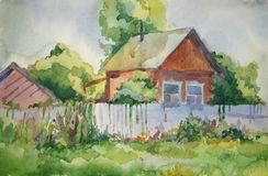 House in the village. Picture of the village house, made watercolors paints royalty free illustration