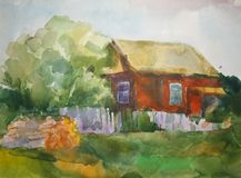 House in the village. Picture of the village house, made watercolors paints stock illustration