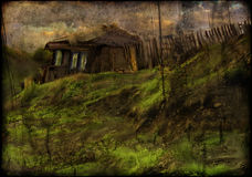 House in village. Illustration of a scary old house in a village Royalty Free Stock Photography