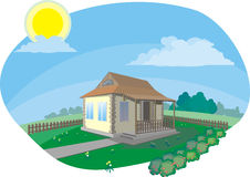 House in village. Vector & Raster Stock Illustration