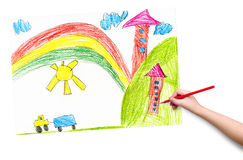 House in the village. child drawing. Royalty Free Stock Photos