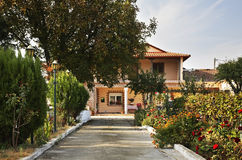 House in the village Evzonoi. Greece.  Royalty Free Stock Images
