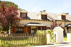 House in Village of fiscal, pyrenees. Village in sunny day, in sunny day, green trees tones, forest of pyrenees, near ordesa national parc Royalty Free Stock Photos