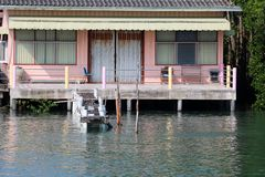 House or village of fishermen along the river near the seashore royalty free stock image