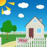 House in a village with garden for rent. Stock Images