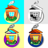 House in the village. Icons. Set Royalty Free Stock Image
