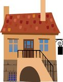 The House 3. House in a village or mountains. Vector illustration royalty free illustration