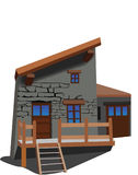 The House 3. House in a village or mountains. Vector illustration Stock Photo