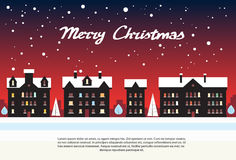 House Village New Year Night Red Merry Christmas. Card Flat Vector Illustration stock illustration