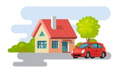 House village property building with car. Vector flat style Royalty Free Stock Photography