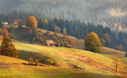 House in the village. On the slope of the fall Royalty Free Stock Image