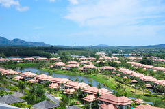 House village. The small town house village with lake and moutain royalty free stock photography