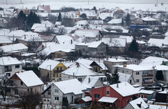 House in Village at winter, aerial Stock Photography