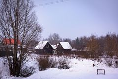 House in the village in the winter stock image