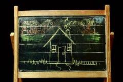 House on vintage blackboard