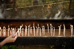 House of the Virgin Mary. Candles being lit at the House of the Virgin Mary is a Catholic and Muslim shrine located on Mt. Koressos  in the vicinity of Ephesus Royalty Free Stock Photos