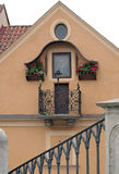 House with Virgin Mary picture. House in Prague, Czech Republic with a religious painting of Virgin Mary behind the glass Royalty Free Stock Photo