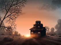 House On The Vista - Digital Painting. Surreal painting of the sun setting behind an odd, three-tiered house Royalty Free Stock Photos