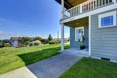 House with walkout deck and backyard porch. royalty free stock photos