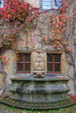 House Wall, Fountain With Colorful Vines And Autumn Leaves Stock Photo