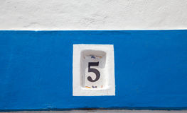 House wall with number 5 Royalty Free Stock Photo