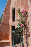 House wall overgrown with bougainvillea on the island of Santori Royalty Free Stock Photography