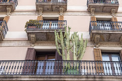 House wall with windows in Barcelona. Spain Stock Images