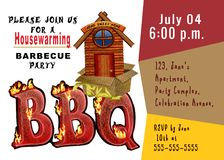 House warming invitation. House warming barbeque party invitation Stock Photos