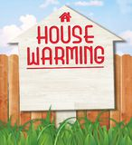 House Warming Invitation Cover Art Sign. House Warming Invitation Sign for Yards Invitations realtors real estate party home warming celebration for sale sold vector illustration