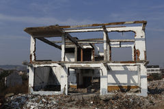 A house was demolished only framework, the new house will be built again Stock Photography