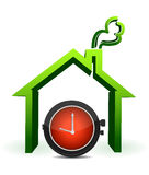 House with watch in front illustration Stock Photos