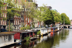 House on the water. Houses on the water in Amsterdam Stock Images