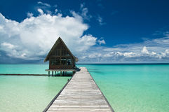 House on water. A cafe/restaurant at a beach, Maldives Stock Photography