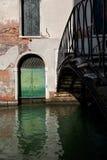 House water canal bridge Venice, Italy stock photo
