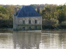 House in the water in Couëron in french brittany. Royalty Free Stock Photography