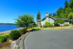 House with water front view. Port Orchard town, WA Stock Image