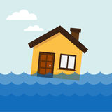 House on the water. Home flooding under water. Vector illustration Royalty Free Stock Image