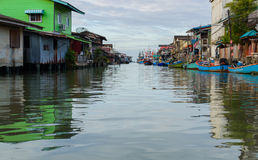 House on the water in Khlong Yai town in Thailand Royalty Free Stock Photo