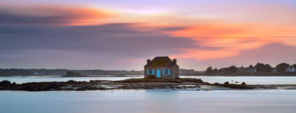 House on the water in Saint Cado, Brittany, France Royalty Free Stock Photo