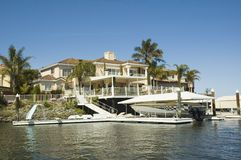 House with waterfront access Stock Image