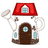 The house is in a watering can. House for garden gnomes. Vector illustration. Drawn by hand Royalty Free Stock Photo