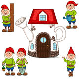 House watering can and garden gnomes. Vector illustration. Isolated objects on a white background. Each object is grouped and easy to move. Suitable for Stock Photos